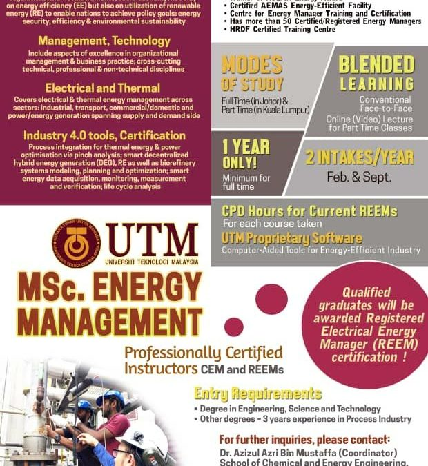 Enroll Now! UTM MSc  Energy Management   Process Systems